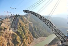 Arch Of The strategic Chenab Bridge Completed By Indian Railways